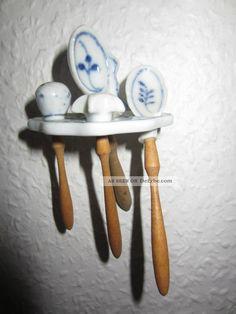 Küchengeräte Blau - Weisses Porzellan Für Puppenstube Puppen Puppenküche Original, gefertigt vor 1970 Bild