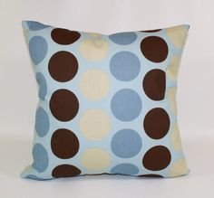 Zipper pillow cover baby blue and taupe boy by HomeStreetDecor, $12.00