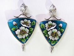 Cherry Spring Flower. Earring. Cloisonne enamel. Sterling silver. Author's work. Handmade jewelry.