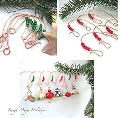 Joy Christmas Tree Ornament Hooks Wire by WireExpressions on Etsy