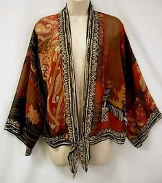 Chico's Flutter Silk Kimono Sleeve Jacket Earth Tones Border Print 1 M Chicos   eBay