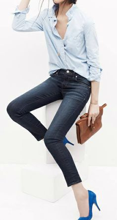 blue heels, jeans and a classic shirt