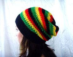 Black, Yellow, Green, Red, Jamaican Cozy Hat Slouchy Beanie Rasta Barrette Crochet