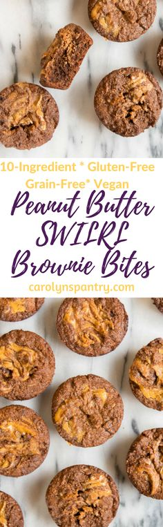 THESE grain-free, gluten-free, vegan, 10-ingredient peanut butter swirl brownie bites! Not only is this recipe made with only 10 ingredients (9 if you leave out the coconut oil), it's also ready in under 30 minutes! Made with almond meal, peanut butter, and lots of chocolate and cacao :)