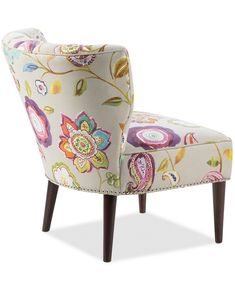 Furniture Lindley Floral Fabric Accent Chair & Reviews - Chairs - Furniture - Macy's Unique Living Room Furniture, Basement Furniture, Sofa Furniture, Living Room Chairs, Living Room Decor, Dining Chairs, Funky Furniture, Dining Room, Floral Accent Chair