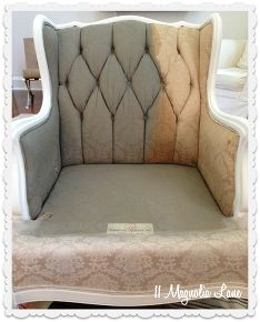 tutorial how to paint upholstery fabric and transform a chair, carpets rugs upholstery, chalk paint, painted furniture, I mixed 1 1 1 2 of dark grey paint fabric medium and water then sprayed the chair lightly with water and painted I let it dry in between coats