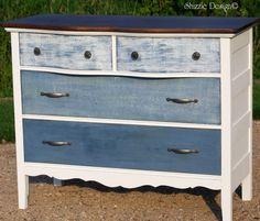 Antique Dresser Painted with Blue and White Ombre Drawers