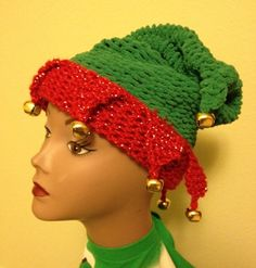 Add a little jingle to your holiday fun with this loom knit elf hat. The pattern is suitable for an intermediate loomer and includes step by step pictures for the tricky parts. :)  The pattern gives instructions for an adult sized hat and a child sized hat and is knit on the green Knifty Knitter long loom using the purple peg clips.  This pattern is ready to download now as a PDF file.  ---Please note this listing is for a pattern and not a finished product