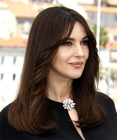 Monica Bellucci Long Straight Casual Hairstyle - Dark Brunette Hair Color - side view