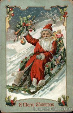 A Merry Christmas with Santa on a Sled