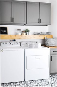 I would ass a folding table. Paint the kitchen cupboards and use in laundry room. I love the dark gray. Great way to hide detergent and other supplies. Love the shelving for cute little decor as well.