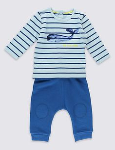 2 Piece Pure Cotton Whale Print Pyjama Top & Bottoms Outfit   M&S