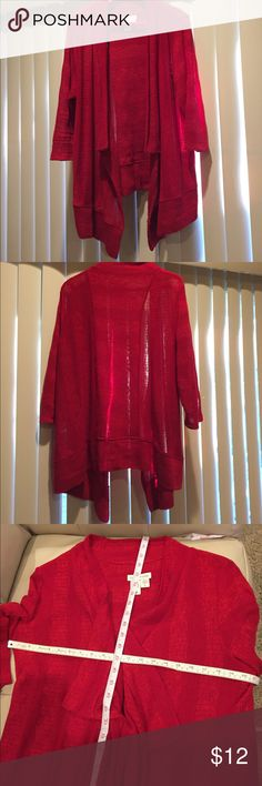 Shrug Red with 3/4 sleeves.  Gently used.   Light weight and can be worn year round. Coldwater Creek Sweaters Shrugs & Ponchos
