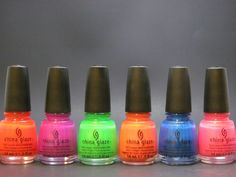 Colors for the toes.......Summer (2012) Neons Collection: L to R - Surfin' For Boys, Beach Cruise-r, I'm With the Lifeguard, Flirty Tankini, Splish Splash, Hang-ten Toes