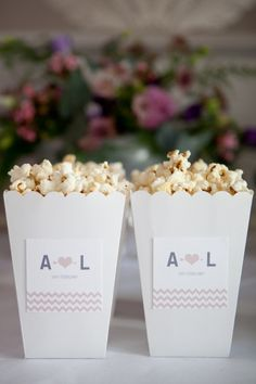 Popcorn Bar with Custom Bags for Wedding Favors