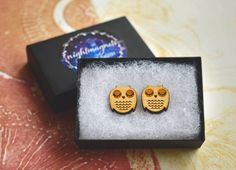 Wooden Owl Stud Earrings by Nightmagnets on Etsy