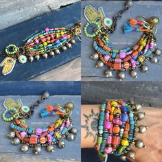 Boho, ethnic, trade beads, multi strand bracelets from www.beadstonenskin.etsy.com