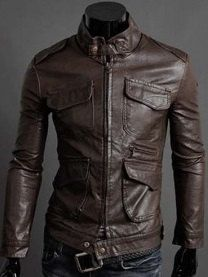 Men's leather jacket Men belted Collar Slim by Myleatherjackets, $139.99