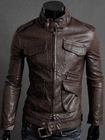 Men's leather jacket Men belted Collar Slim by Myleatherjackets, $139.99