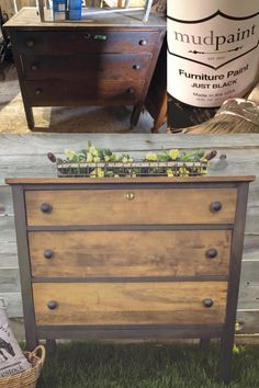 DIY dresser makeover with a mix of MudPaint's Just Black and Stone like this beautiful one by MudPaint is easy to apply! Diy Garden Furniture, Paint Furniture, Repurposed Furniture, Furniture Projects, Black Furniture, Diy Furniture Repurpose, Wooden Furniture, Diy Furniture Dresser, Diy Furniture Flip