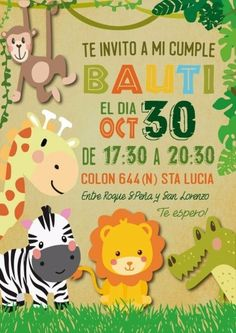 Jungle themed First Birthday Invitation - √ 30 Jungle themed First Birthday Invitation , Safari Jungle Birthday Party Printable Invitations Cute Jungle Theme Birthday, Wild One Birthday Party, Jungle Party, Safari Party, 6th Birthday Parties, 2nd Birthday, Birthday Ideas, Safari Invitations, Birthday Party Invitation Wording