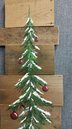 Christmas tree red bulbs Pine tree by TheWhiteBirchStudio on Etsy