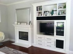 Built in tv wall cabinet and fireplace build wood modern unit designs mount moder Built In Tv Wall Unit, Wall Units With Fireplace, Built In Tv Cabinet, Diy Fireplace, Modern Fireplace, Fireplace Design, Fireplaces, Tv Wall Cabinets, Media Cabinets
