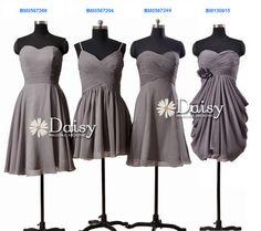 Grey Chiffon Bridesmaid Dress,Short Wedding Party Dress,Gray Knee Length Bridesmaid Dresses,Short Formal Dress Gray,Grey Dress,Women Dresses on Etsy, $79.00