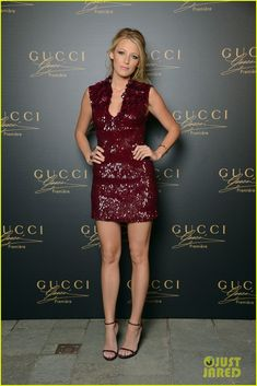 DAMN STYLISH! she is ready for oxblood fall! <3  Blake Lively: Gucci Premiere Launch with Salma Hayek!