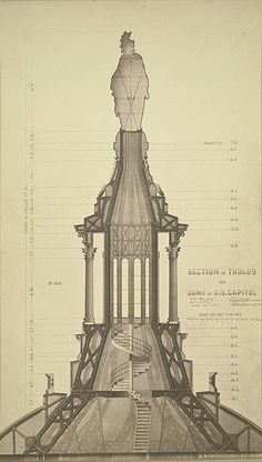 Washington, D. Section of Tholus on U. Capitol Dome - A. Vintage Architecture, Architecture Drawings, Futuristic Architecture, Classical Architecture, Historical Architecture, Ancient Architecture, Architecture Details, Chinoiserie, Visualisation
