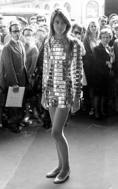 Francoise Hardy in a Paco Rabanne party dress circa 1968. #fashion #style #icon