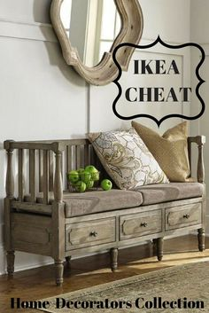 Cheat on Ikea with this Farmhouse/Rustic entryway storage bench. Give the feel of farmhouse style as soon as you walk in the door. #ikeacheat #ikea #entrywaydecor #farmhouseentrywaybench #bench #storagebench #farmhousebench #rusticbench #rusticentrywaybench #farmhousedecor #rusticdecor #ad #affiliatelink