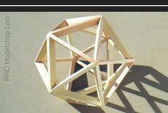 Icosahedron open frame wood model