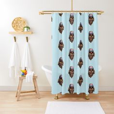 'American Golden Retriever' Shower Curtain by LazyKoala American Golden Retriever, Curtains, Shower, Art Prints, Printed, Awesome, People, Products, Rain Shower Heads