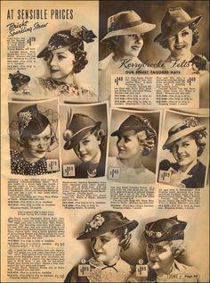 1930s vintage style fashion hats photo print ad models magazine catalogue