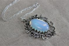 5$ antique silver Victorian style moonstone necklace wedding jewelry bridesmaid gift