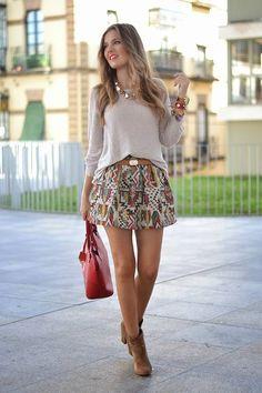 Beige Multi Tribal Print A-line Mini Skirt