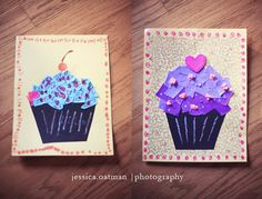 ripped paper cupcake art work