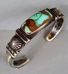JOCK FAVOUR Royston Turquoise Ingot Silver Cuff Bracelet #JockFavour