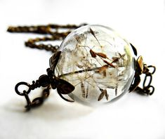 Dandelion Necklace Silver Make A Wish Glass Bead Orb by KarmaBeads