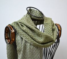 Handwoven cashmere scarf dark lime by MadeleineJude on Etsy