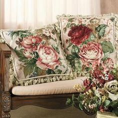 Cabbage Rose Needlepoint Pillows