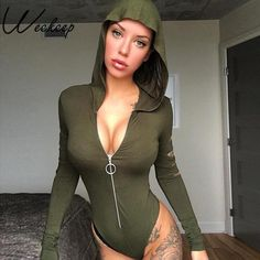 889c219489 2018 New Autumn Rompers Womens Jumpsuit Sexy V Neck Long Sleeve Playsuits  Black Hooded zipper Bodysuits Solid rompers female