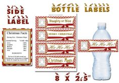 Printable Red Chevron Decorative Christmas Water Bottle Label 8 x 2.5 inch