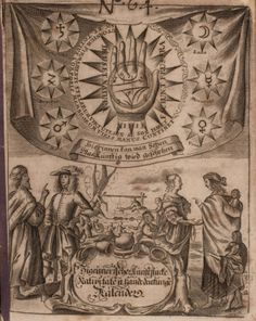 Abdalla Mirsai's frontispiece emphasizes the double road to the future available to Romanis: the man in oriental garb on the left is presumably an astrologer, while the woman with the kids poses as the chiromancer. (Two years later these figures were depicted with dark skin.) In the top half, the correspondences between astrology and palmistry are emphasized: the so-called 'seven mountains' of the palm are named after the seven planets. © Stadtverwaltung Altenburg, Stadtarch