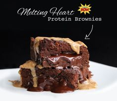 Melting Heart Protein Brownies Macros per brownie (out of the 8 you get from the mix above): 202kcals, 12g protein, 15g carbs (out of which 10g is fiber!), 8g fat