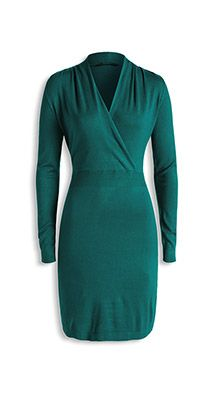 basic fine knit dress with wrap neckline
