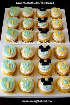 BABY MICKEY MOUSE THEMED FIRST BIRTHDAY CUPCAKES Vanilla Cupcakes, vanilla frosting and fondant toppers. Follow me www.facebook.com/chioscakes #babymickeymouse