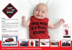Ambient advertisement created by BBDO, Belgium for Dodge, within the category: Automotive. Dodge Journey, Concept Board, Baby Makes, Magazine Ads, E Cards, Bumper Stickers, Photo Booth, Cannes Lion, Advertising Ideas