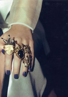 adore this nail polish color and the vintage look with the rings!